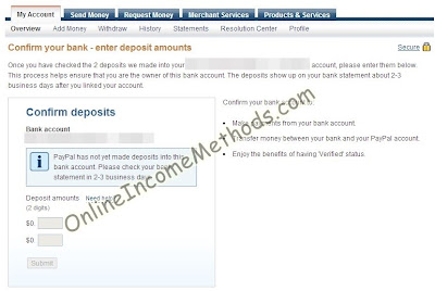 Paypal Bank Account Verification with two amounts