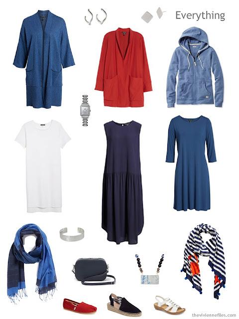 Tote Bag Travel capsule wardrobe with 3 dresses