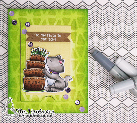 Cat and cake Birthday card by Ellen Haxelmans | Newton Loves Cake Stamp Set by Newton's Nook Designs