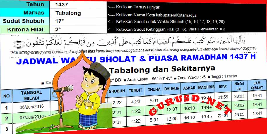Aplikasi Jadwal Ramadhan Berbasis Sistem Pakar Otomatis Hingga Kabupaten Kota Kurikulum 2013