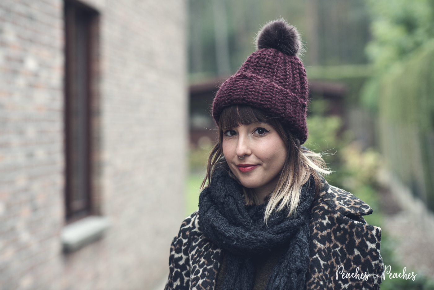 We Wear: Wannabe skater girl in Vans, leopard biker jacket and pom pom beanie