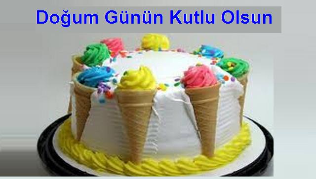 Dondurmalı pasta ile doğum günü kutlama kartı