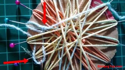 pola ikatan membuat bros bunga dari tali