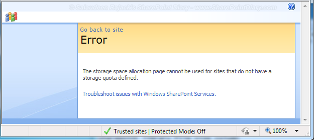 The storage space allocation page cannot be used for sites that do not have a storage quota defined