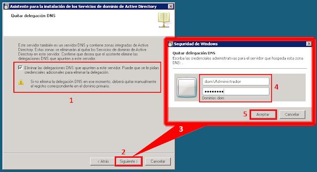 Eliminar las delegaciones DNS que apunten a este servidor. Puede que se le pidan credenciales adicionales para eliminar la delegación.