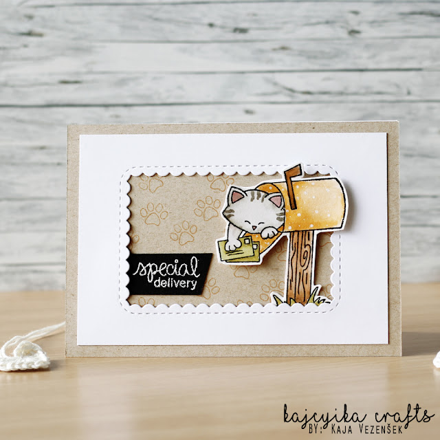 Special Delivery Card by April Guest Designer Kaja Vezensek using Newton's Happy Mail Stamp set #newtonsnook