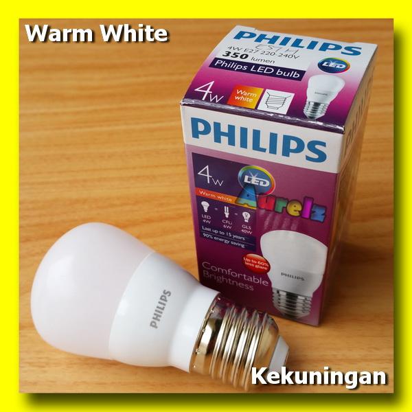 lampu led philips 4 watt warm white