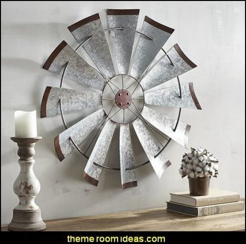 Galvanized Windmill Wall Decor  rustic industrial farmhouse decorating - Industrial farmhouse decor - rustic farmhouse decor - industrial farmhouse living - barn door decor - rustic farm style deccor -  Modern Farmhouse decor - Sliding barn Doors - modern industrial farmhouse decorating