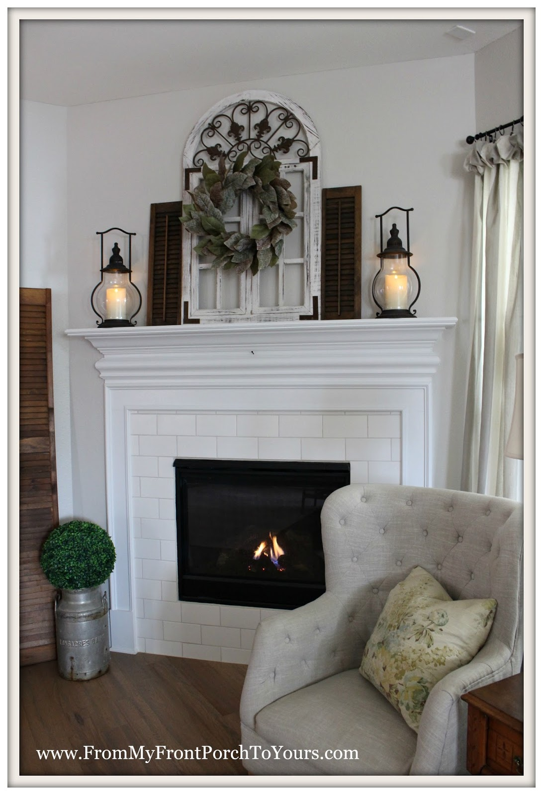 From my front porch to yours farmhouse fireplace mantel for Farmhouse fireplace decor