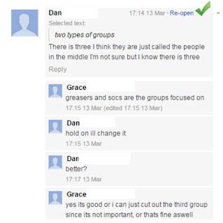 Dan has written about some groups in the text, but is not sure of the names. Grace gives him the names.