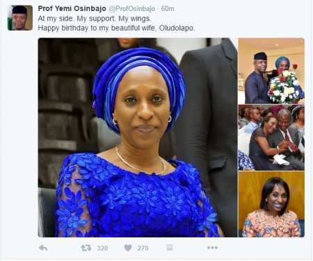 WOW!!! Osinbajo Sends Beautiful Birthday Message to Wife - ''My support. My wings''
