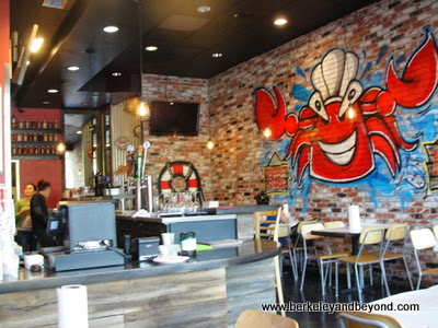 interior crab mural at Amazing Crab Restaurant in Berkeley, California