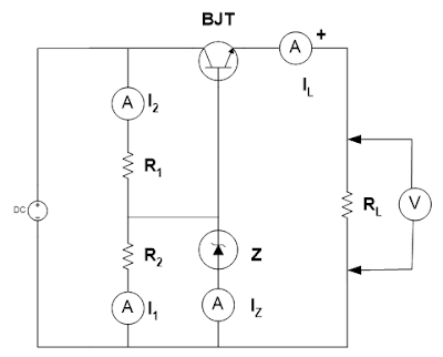 Rangkaian Percobaan regulator tegangan dengan transistor