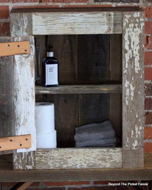 Chippy Wall Cabinet Made from Reclaimed Picket Fencing