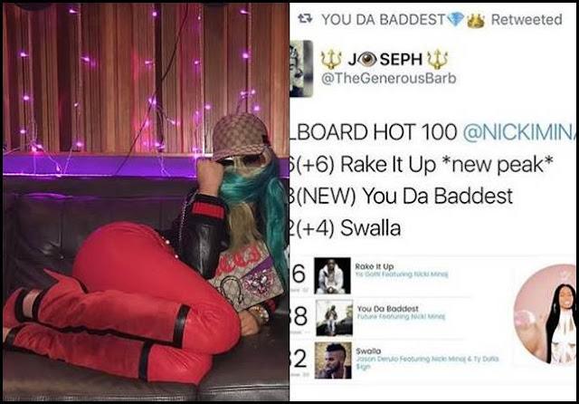 """You Da Baddest"" And 2 Tracks Brings Nicki Minaj On 80th Billboard Hot 100 Entry"
