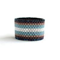 купить Необычное широкое женское кольцо ручной работы из бисера ру