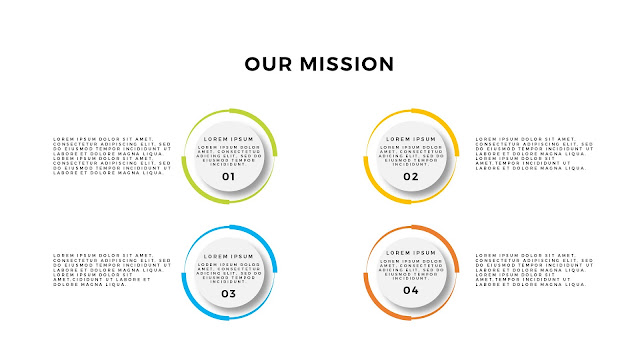 Free Infographic PowerPoint Template for Our Mission Presentation with 4 Circular Digrams