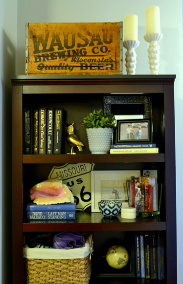 Bookcase decorations including our Wausau Brewing crate.