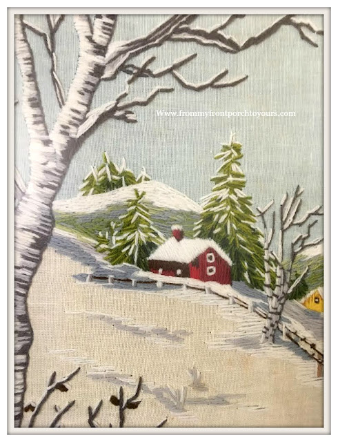 French Country Farmhouse-Vintage-Crewel-Winterscape-From My Front Porch To Yours