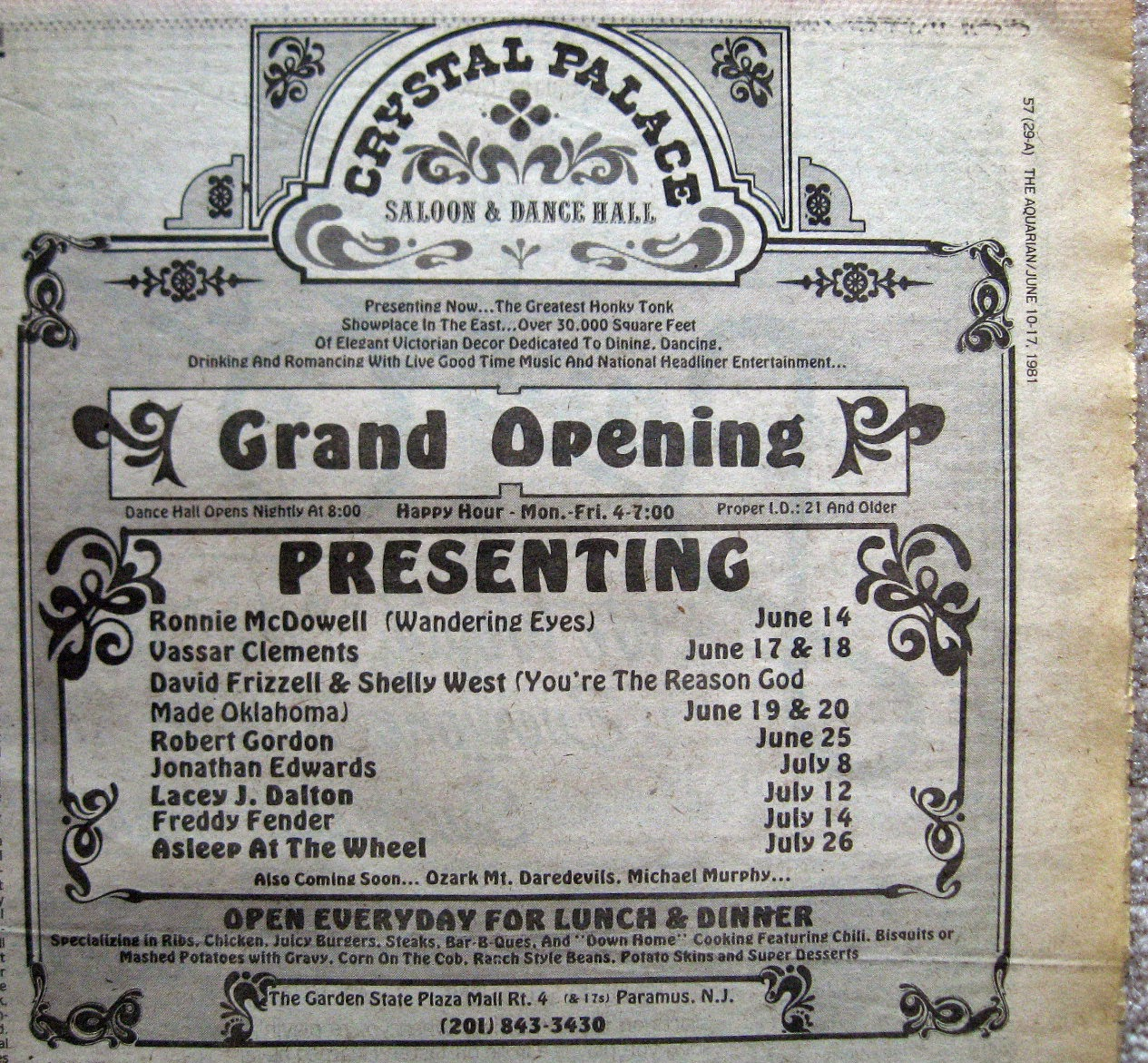 Crystal Palace Grand Opening band line up 1981
