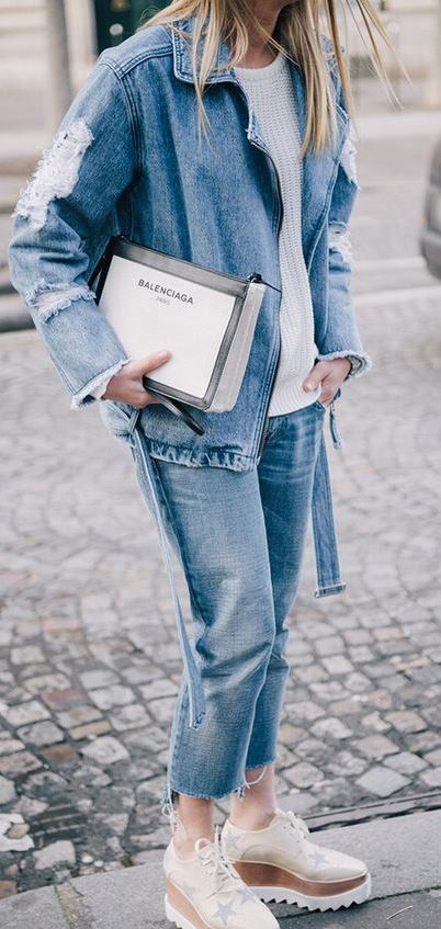 dneim street style look / jacket + jeans + boots + knit sweater