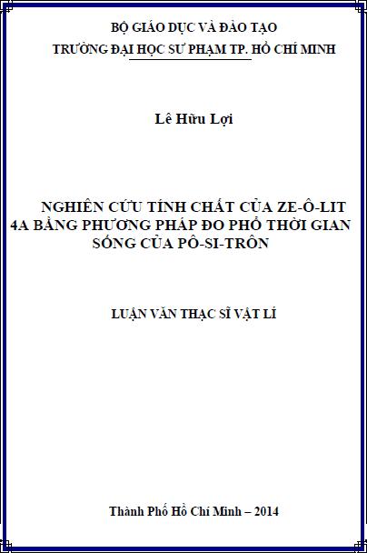 Nghiên cứu tính chất của ze-ô-lit 4A bằng phương pháp đo phổ thời gian sống của pô-si-trôn
