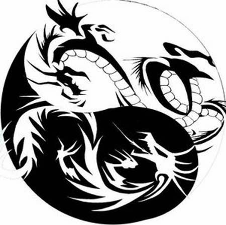 Dragons yin-yang tattoo stencil