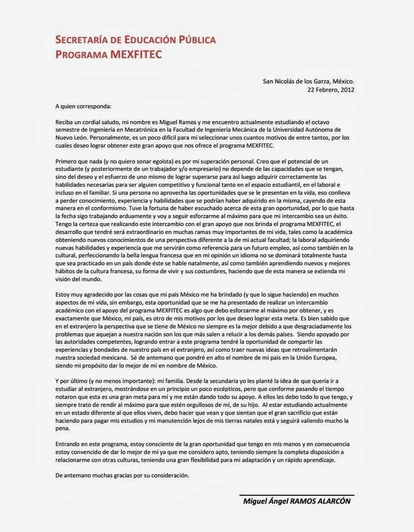 365 Dias En Francia Haciendo Una Carta De Motivos