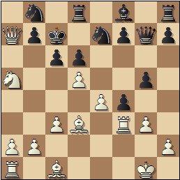 Partida de ajedrez Sigismund Hamel vs. Hilarió Soler, 1863, posición después de 16.Ca5!