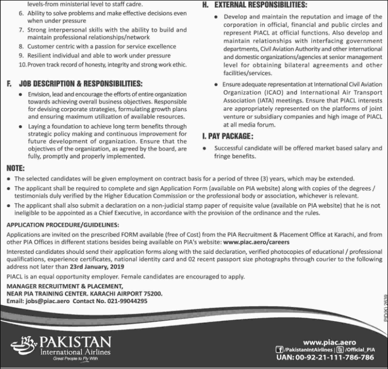 Advertisement for PIA Jobs January 2019
