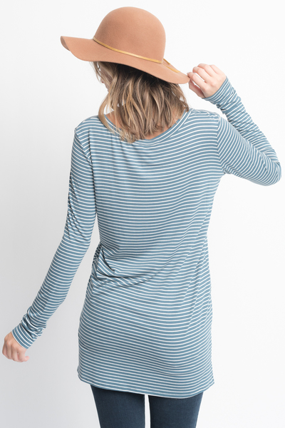 Shop for Hunter Green Striped Long Sleeve Hi Lo Button Down Tunic Online on Caralase.com
