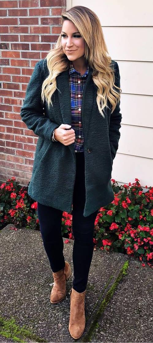casual style perfection / coat + plaid shirt + black skinnies + boots