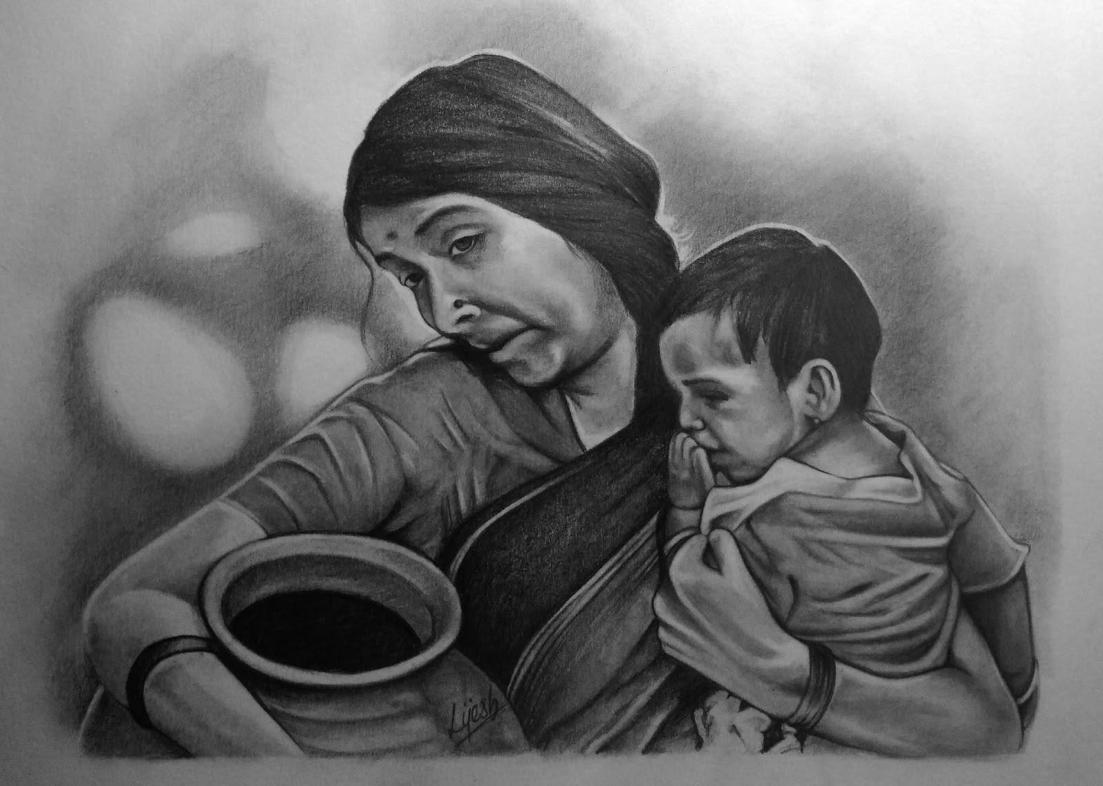 pencil drawing mother and kid