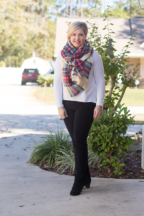 holiday outfit, plaid scarf, velvet pants
