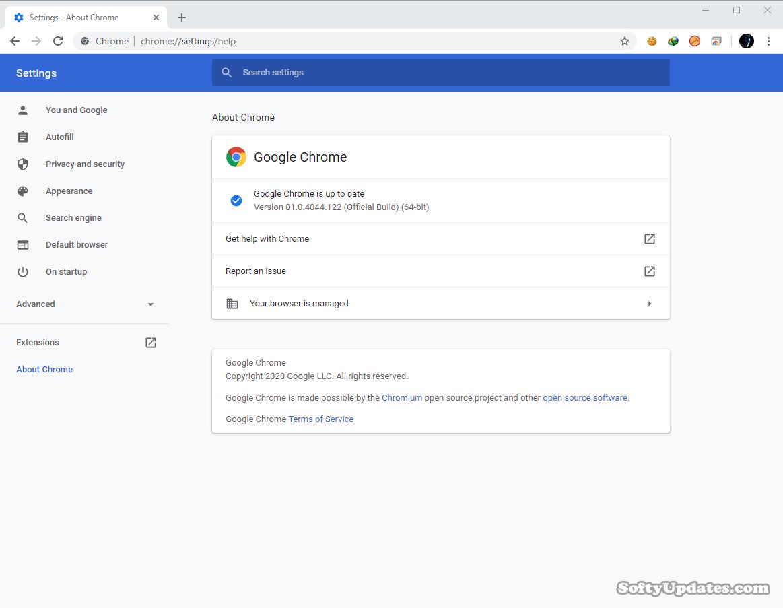 Google Chrome Browser 81.0.4044.122