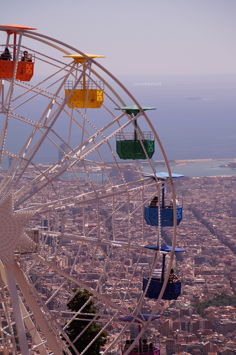 Ferris wheel in Tibidabo mountain amusement park , Barcelona, Spain