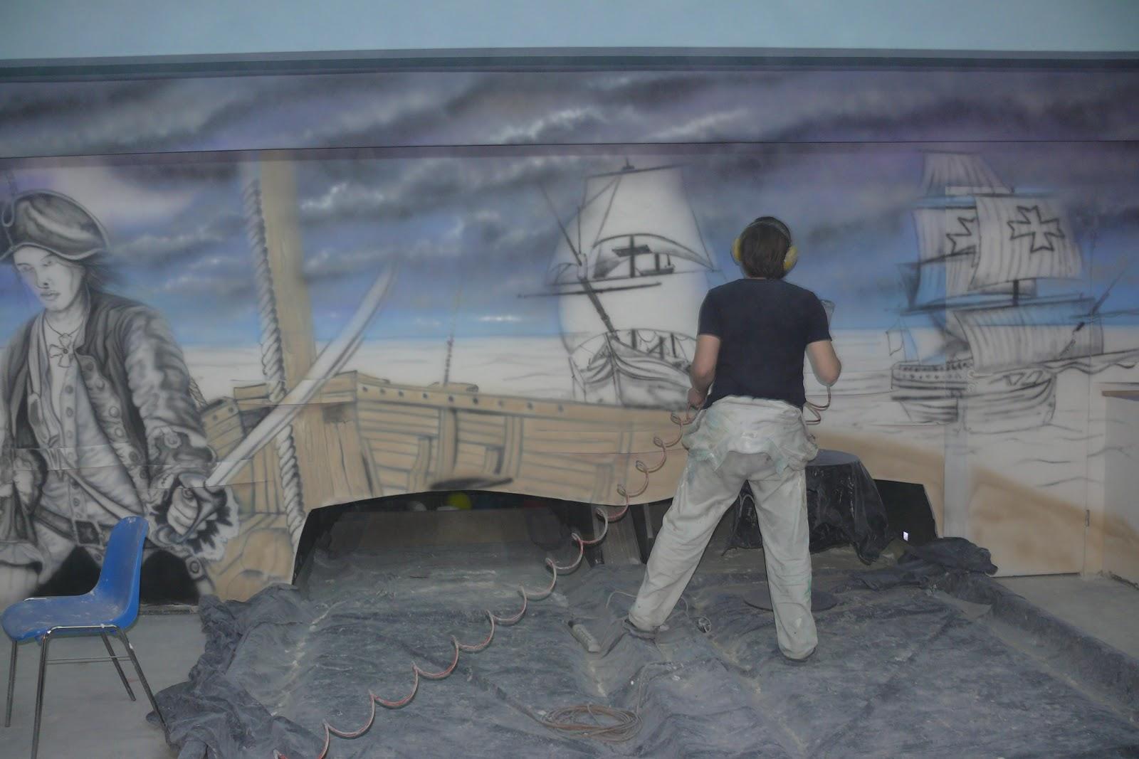 Artystyczne Malowanie ścian 3d Malowanie Kręgielni Farbami Uv