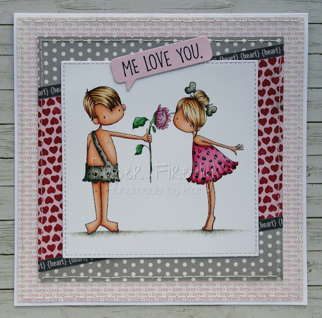 Cute romantic card using Cave couple by Stamping Bella