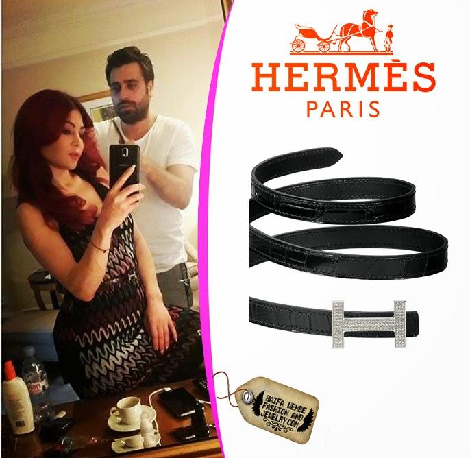 Haifa Wehbe Wearing 13 Mm Hermès Crocodile Belt with a diamond buckle 489fe892e6392