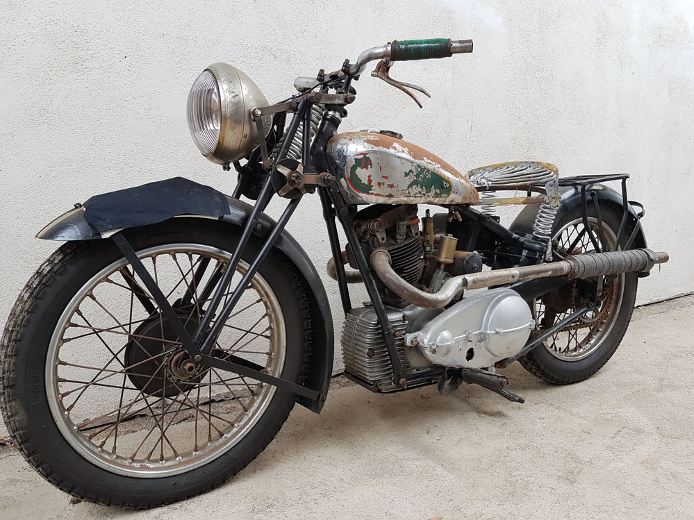 View of 1934 Royal Enfield Bullet.