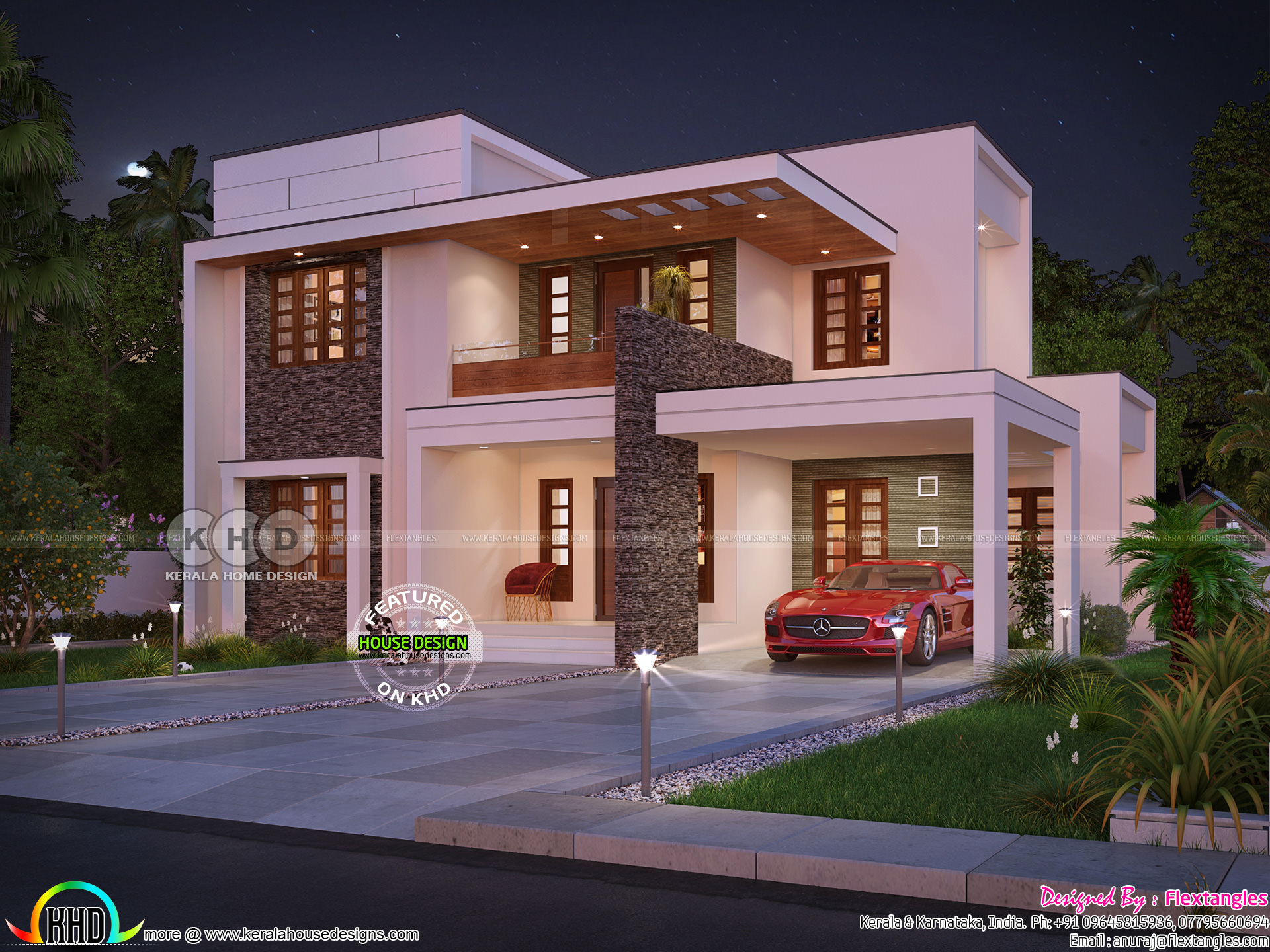 2165 Sq Ft 4 Bedroom Contemporary Flat Roof House Kerala Home Design And Floor Plans 8000 Houses