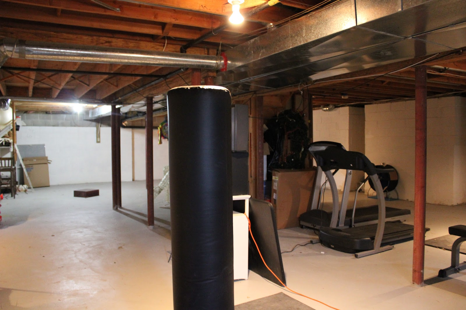 Garage Make Over Basement Remodel With Painted Exposed Ceiling