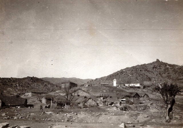 View toward Skochivir village during the First World War - the white object is the bell tower of the church St. Petka built in 1860