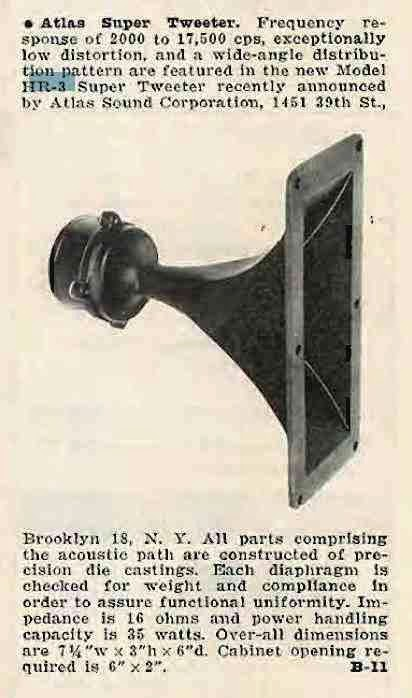 Atlas Sound HR-3 Horn Tweeter (Audio February 1958)