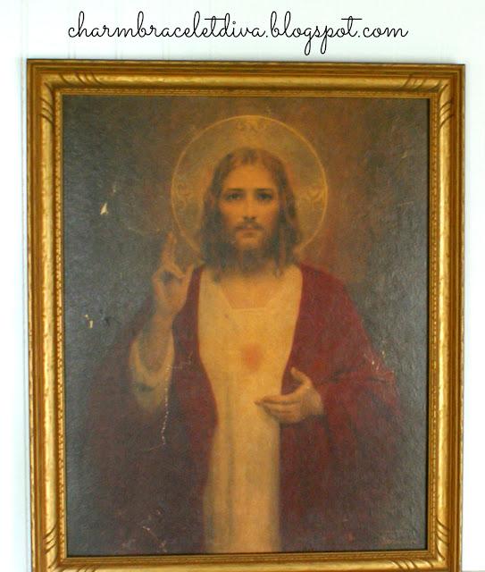 Vintage C. Bosseron Chambers Sacred Heart painting