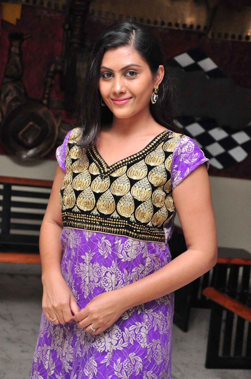 Tv Actress Priyanka Naidu Photos In Violet Dress