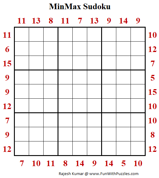 MinMax Sudoku Puzzle (Fun With Sudoku #351)