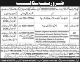Jobs In Agriculture Department Punjab for 6 Positions 2018