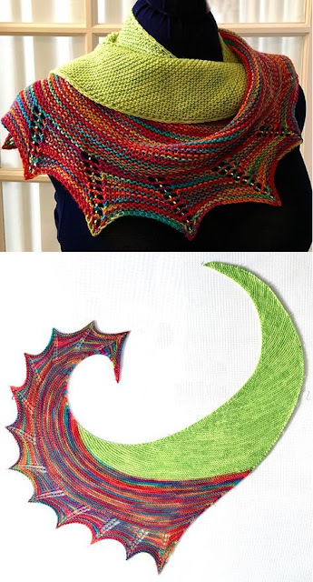 Garter stitch shawl with a little beading