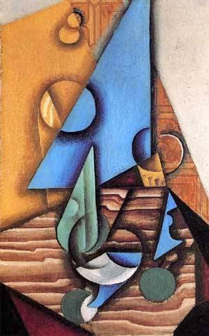 Garrafa e Vidro em uma Tabela - Técnica de colagem e cubismo nas obras de Juan Gris